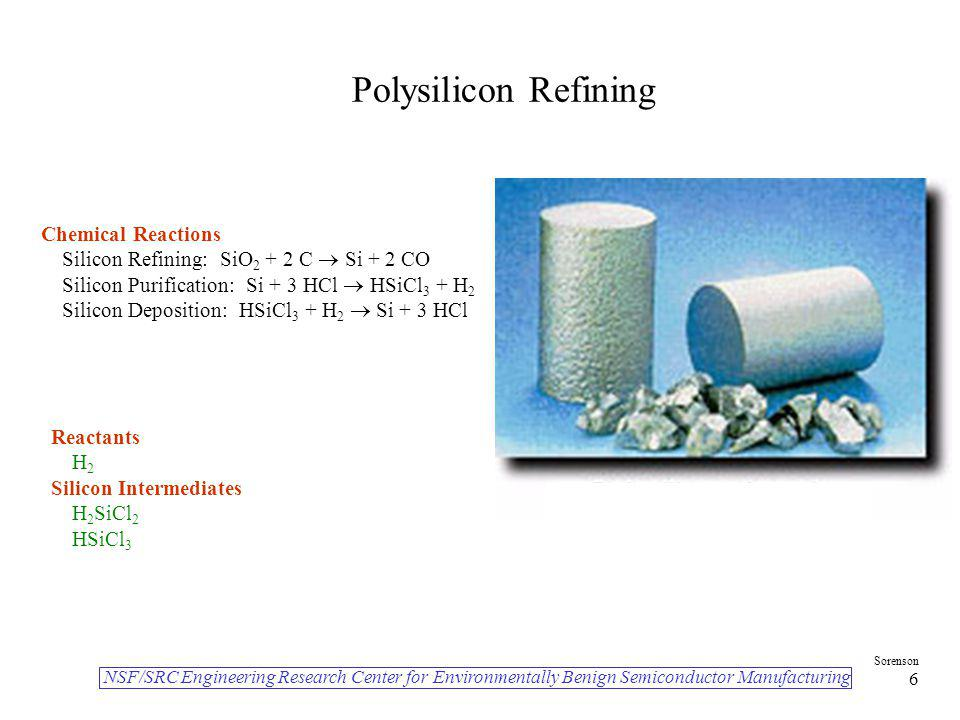 Polysilicon Refining Chemical Reactions