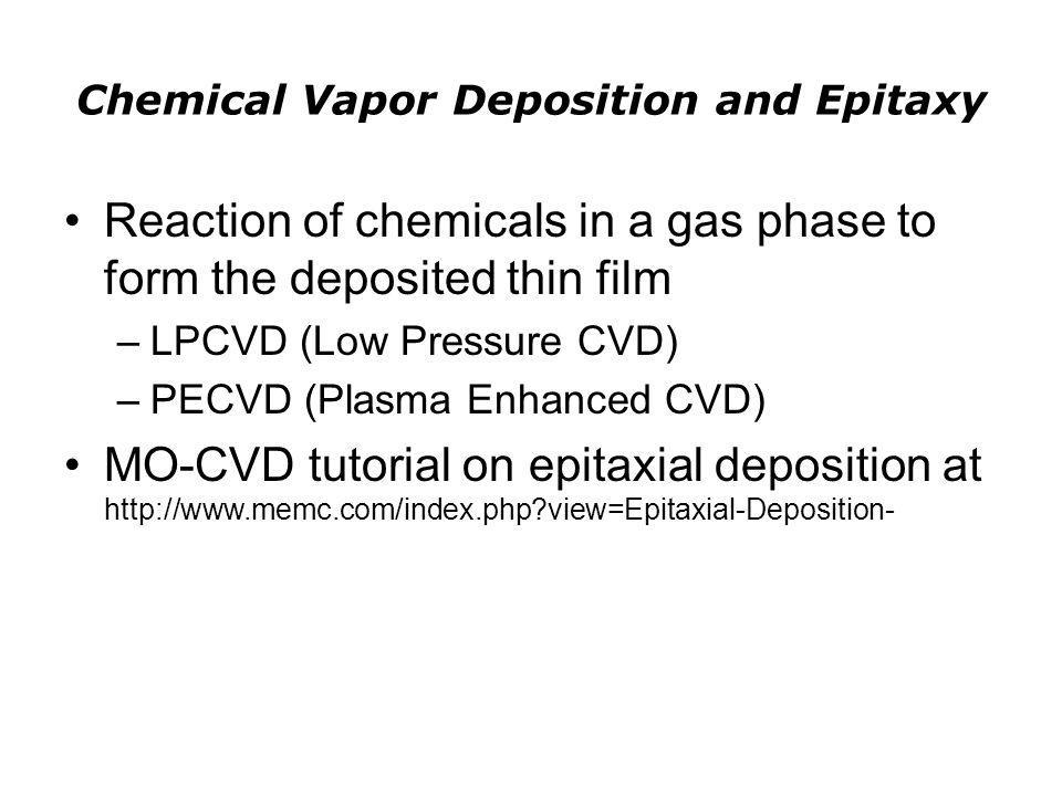Chemical Vapor Deposition and Epitaxy