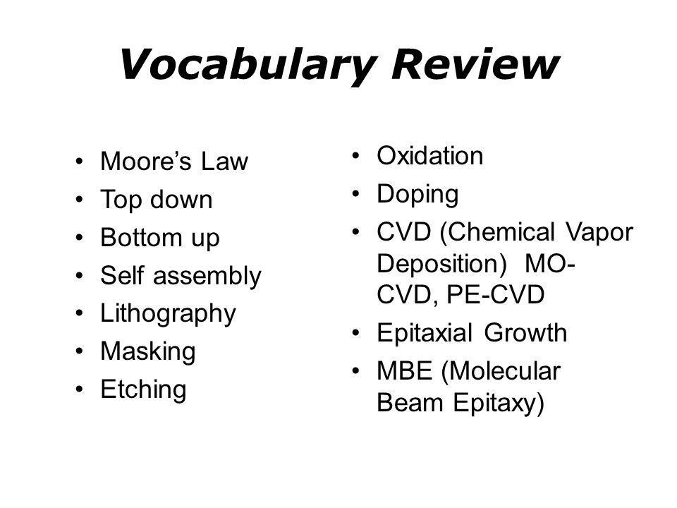 Vocabulary Review Oxidation Moore's Law Doping Top down