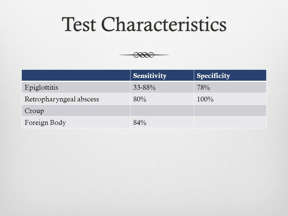 Test Characteristics Sensitivity Specificity Epiglottitis 33-88% 78%