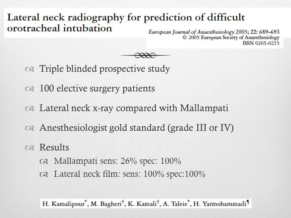 Triple blinded prospective study 100 elective surgery patients