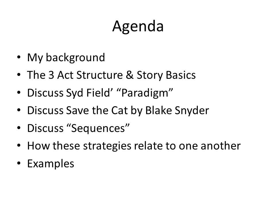 Agenda My background The 3 Act Structure & Story Basics