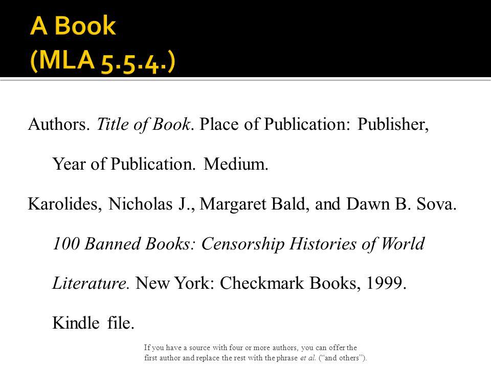 A Book (MLA 5.5.4.)