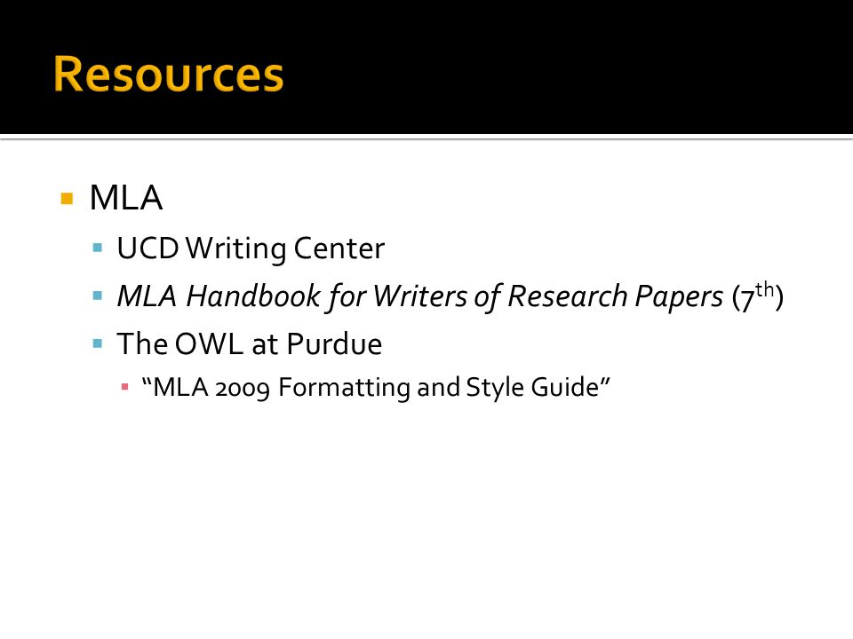Resources MLA UCD Writing Center