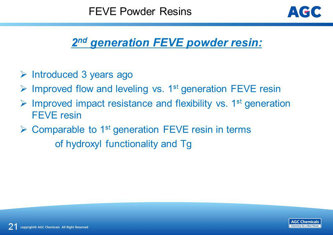 FEVE Powder Resins PROPERTIES 1st generation FEVE resin 2nd generation