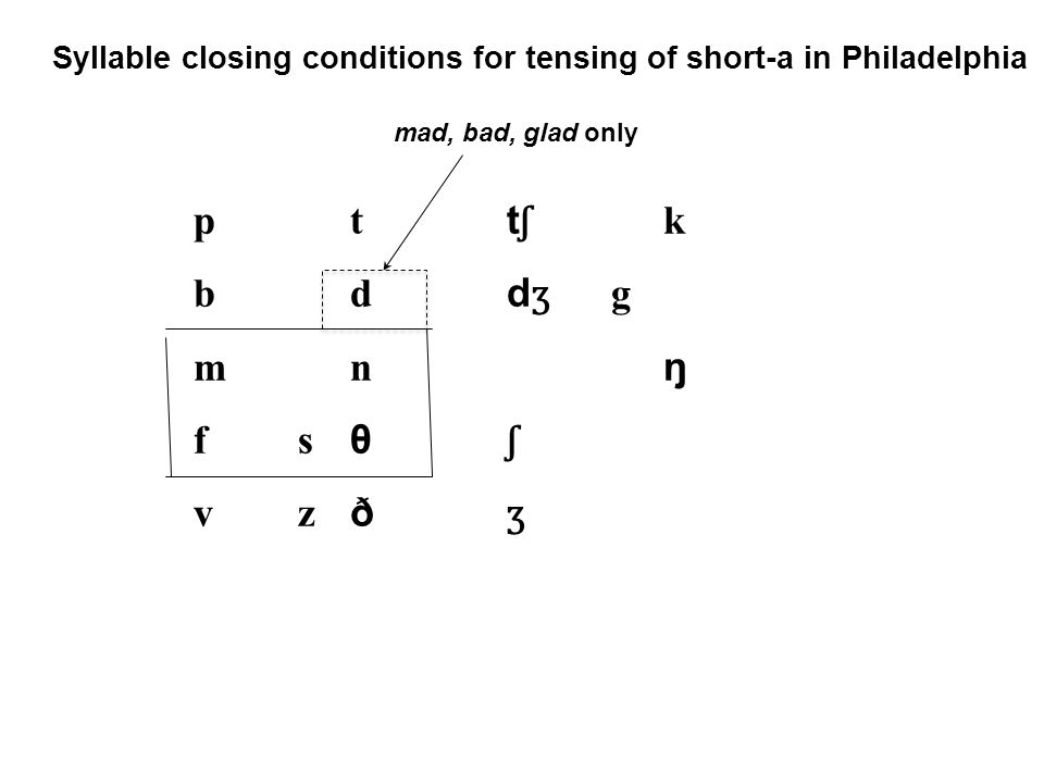 Syllable closing conditions for tensing of short-a in Philadelphia