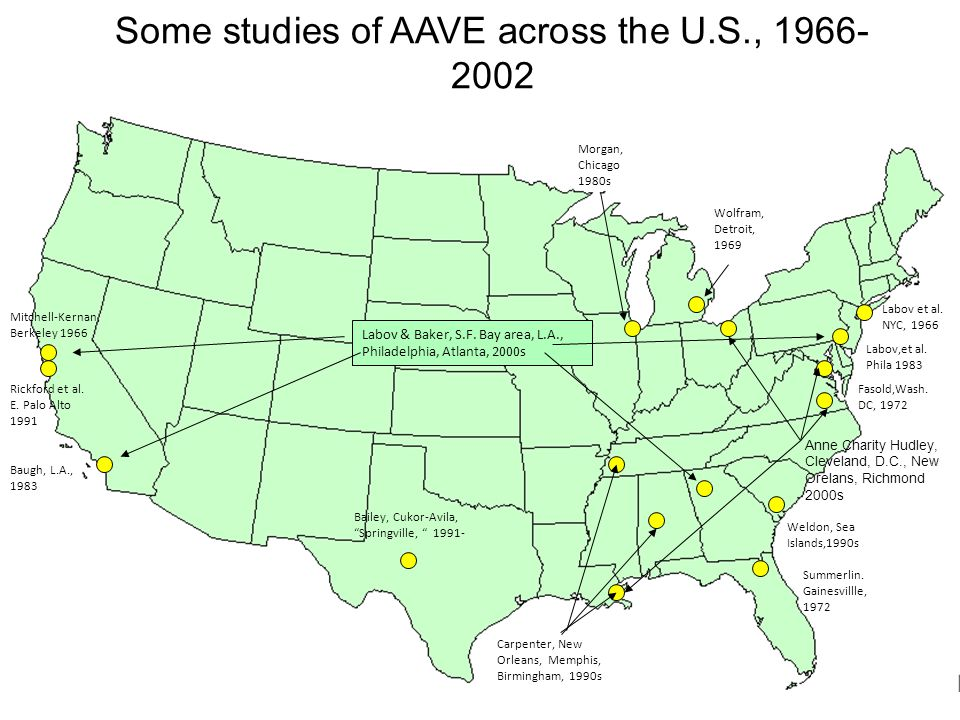 Some studies of AAVE across the U.S., 1966-2002