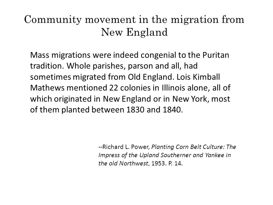 Community movement in the migration from New England
