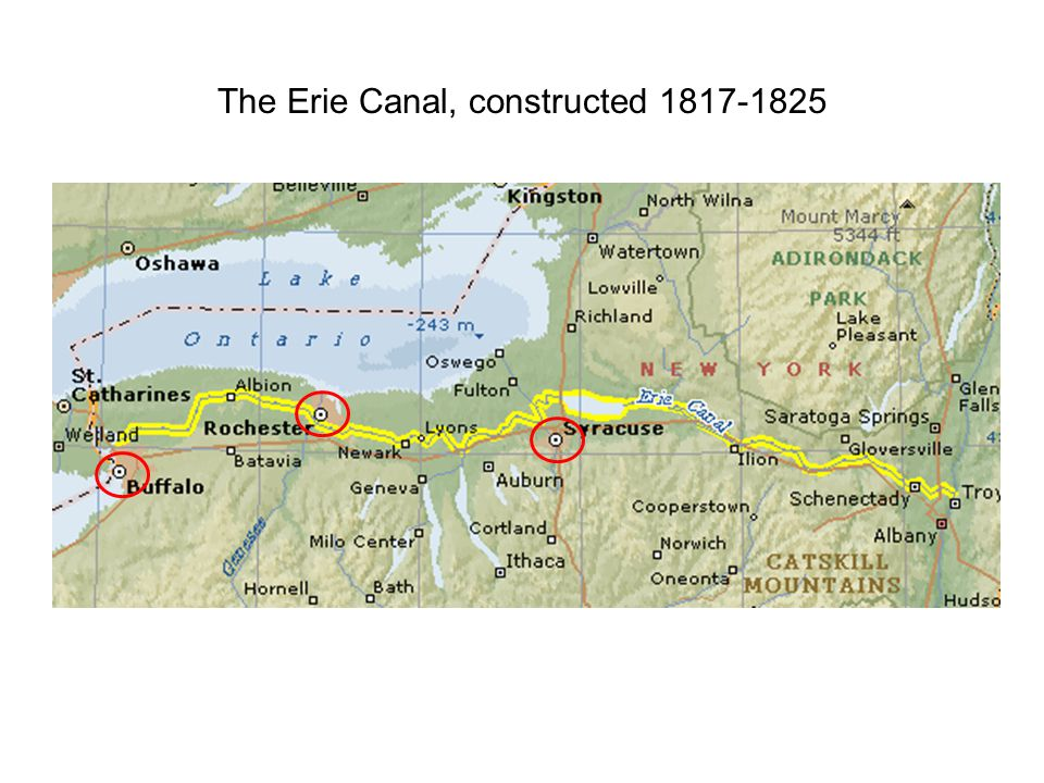 The Erie Canal, constructed 1817-1825