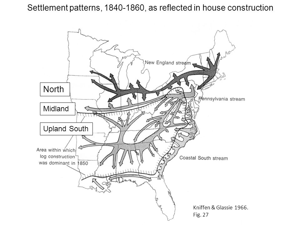 Settlement patterns, 1840-1860, as reflected in house construction