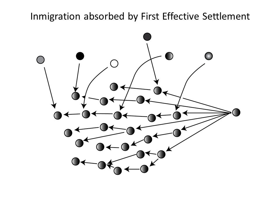 Inmigration absorbed by First Effective Settlement