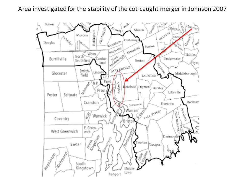 Area investigated for the stability of the cot-caught merger in Johnson 2007