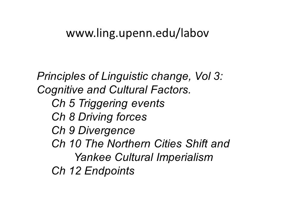 www.ling.upenn.edu/labov Principles of Linguistic change, Vol 3: Cognitive and Cultural Factors. Ch 5 Triggering events.