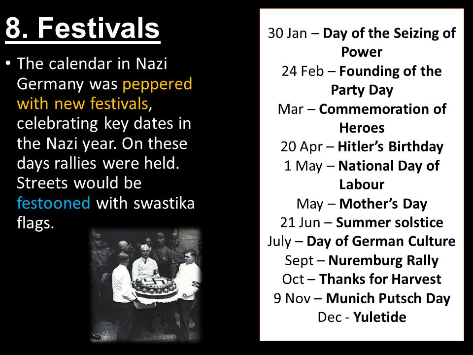 8. Festivals 30 Jan – Day of the Seizing of Power. 24 Feb – Founding of the Party Day. Mar – Commemoration of Heroes.