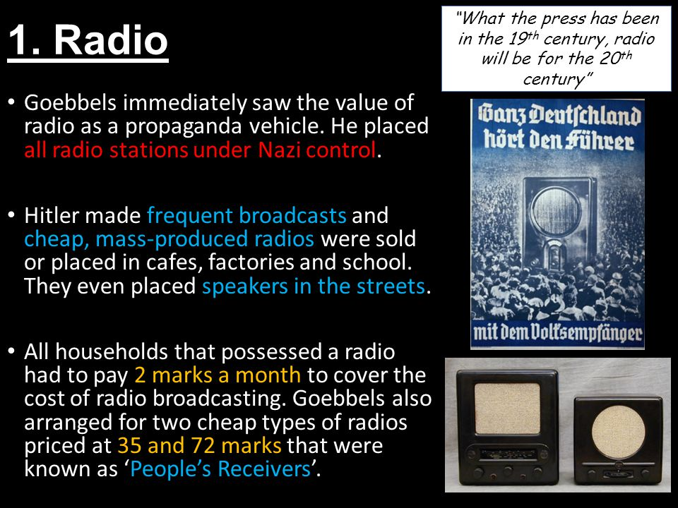 1. Radio What the press has been in the 19th century, radio will be for the 20th century