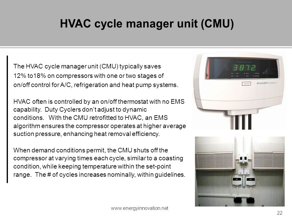 HVAC cycle manager unit (CMU)