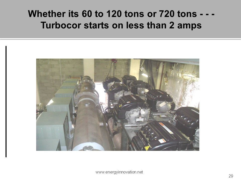 Whether its 60 to 120 tons or 720 tons - - - Turbocor starts on less than 2 amps