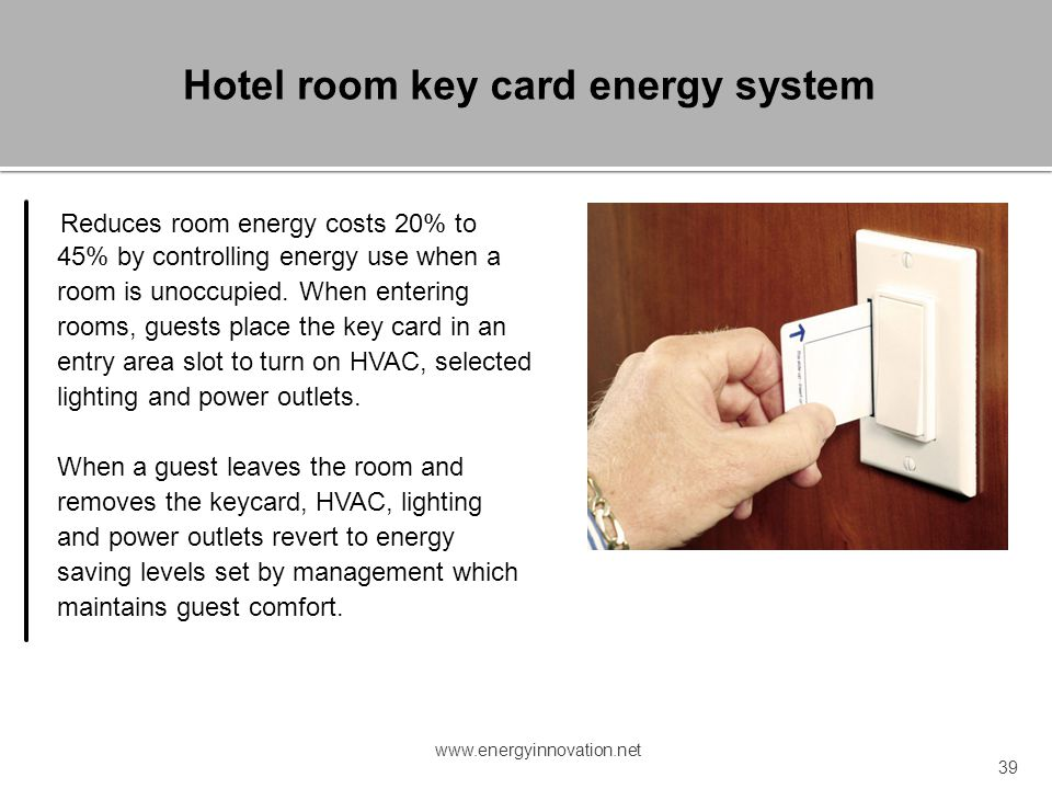 Hotel room key card energy system