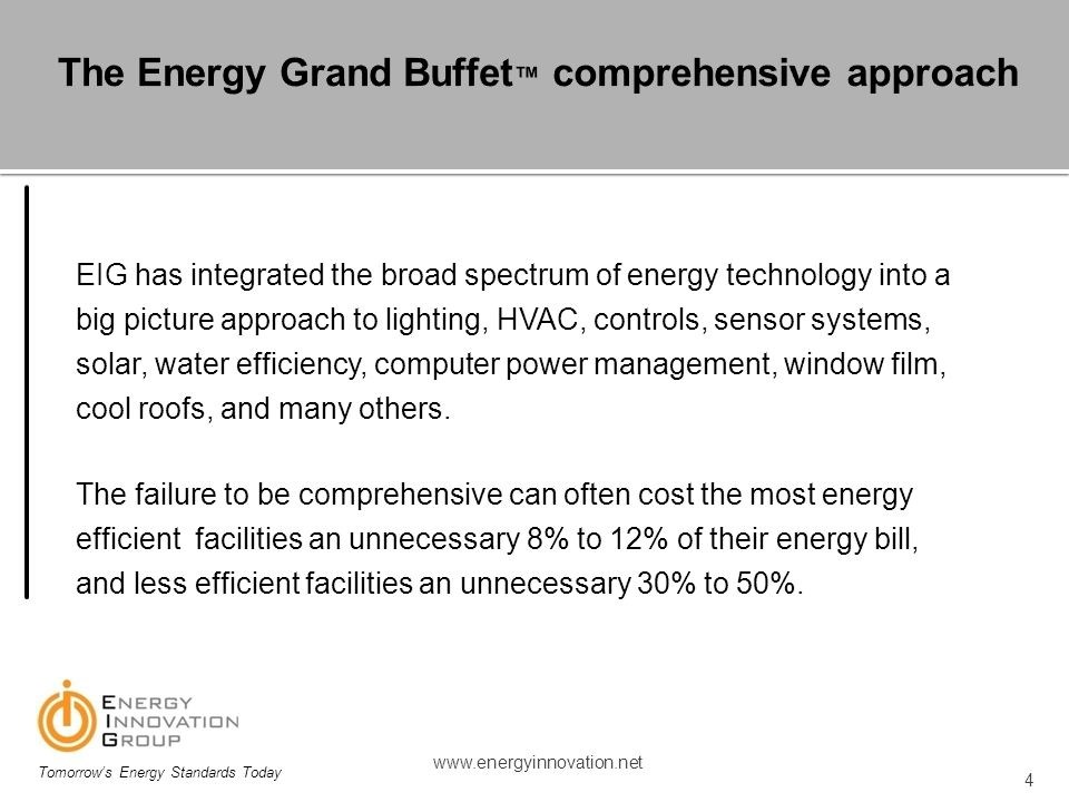 The Energy Grand Buffet™ comprehensive approach