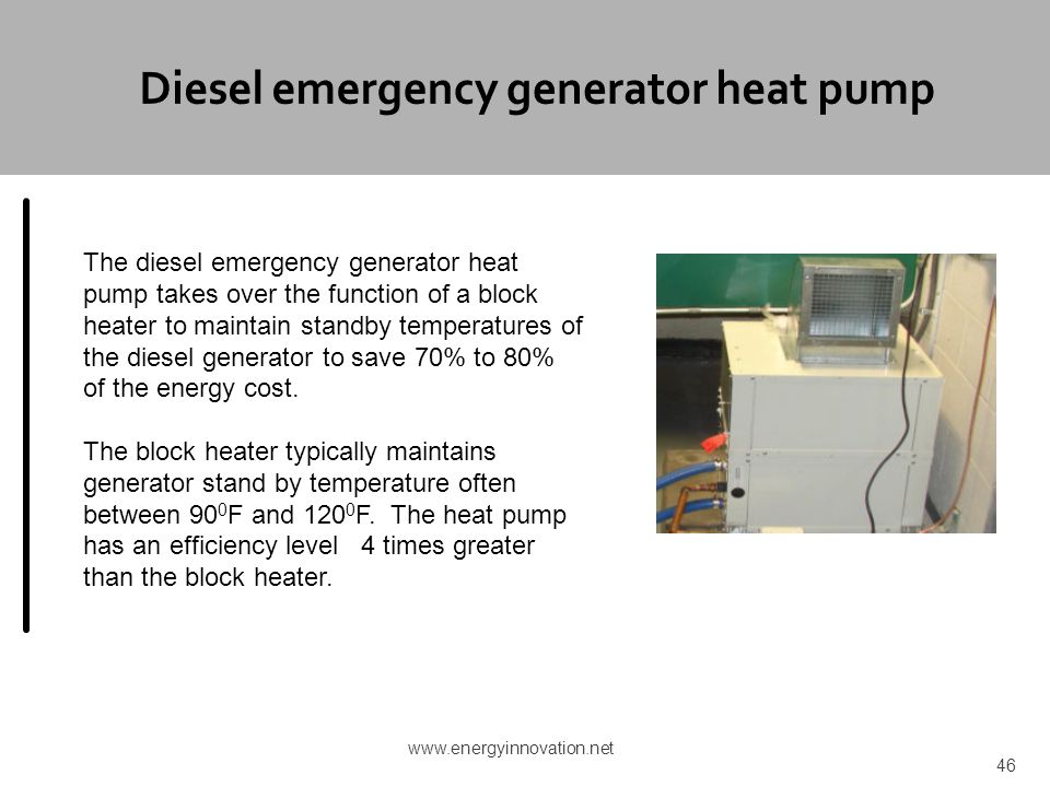 Diesel emergency generator heat pump