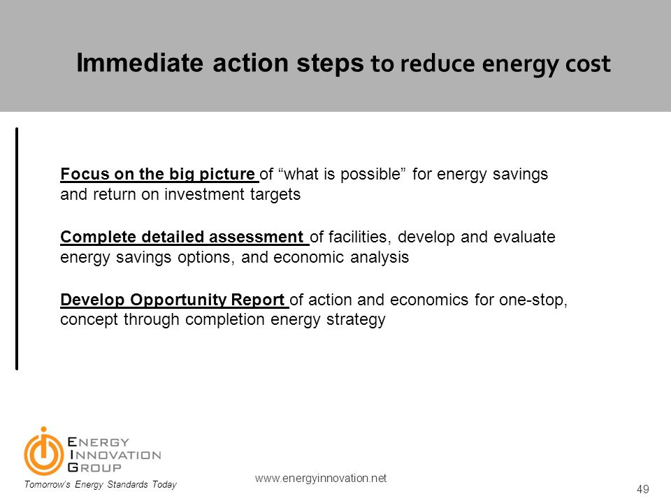 Immediate action steps to reduce energy cost