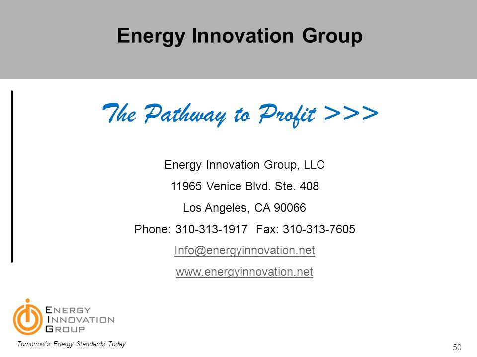 Energy Innovation Group The Pathway to Profit >>>