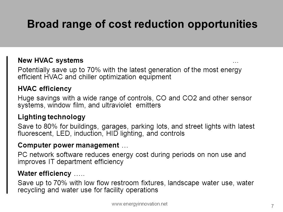 Broad range of cost reduction opportunities