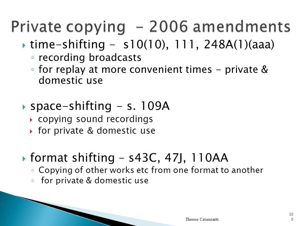 Private copying - 2006 amendments