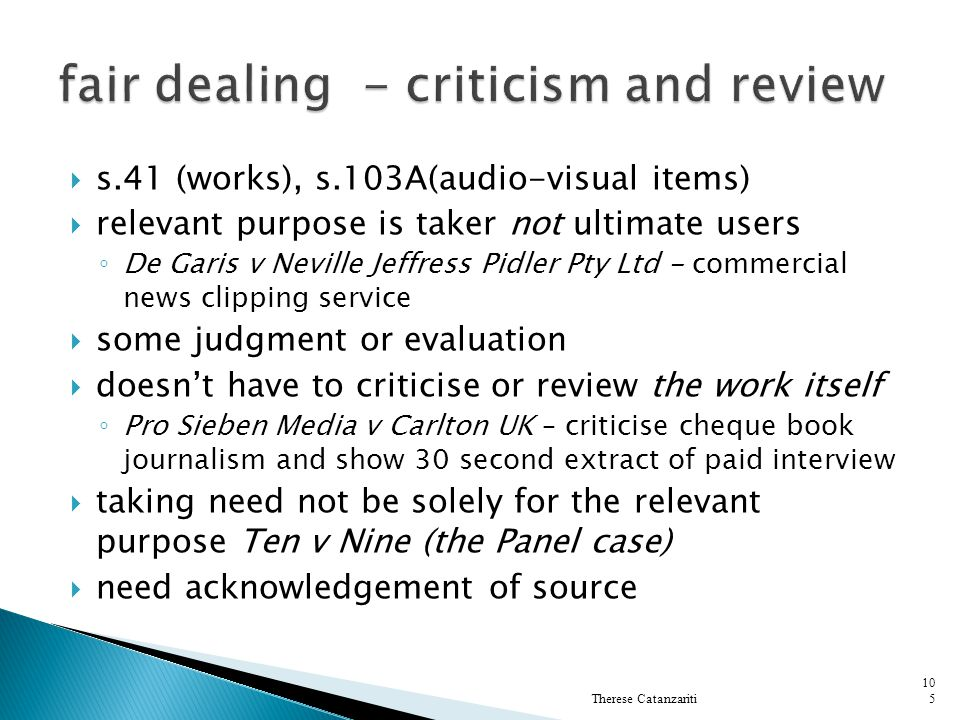 fair dealing - criticism and review