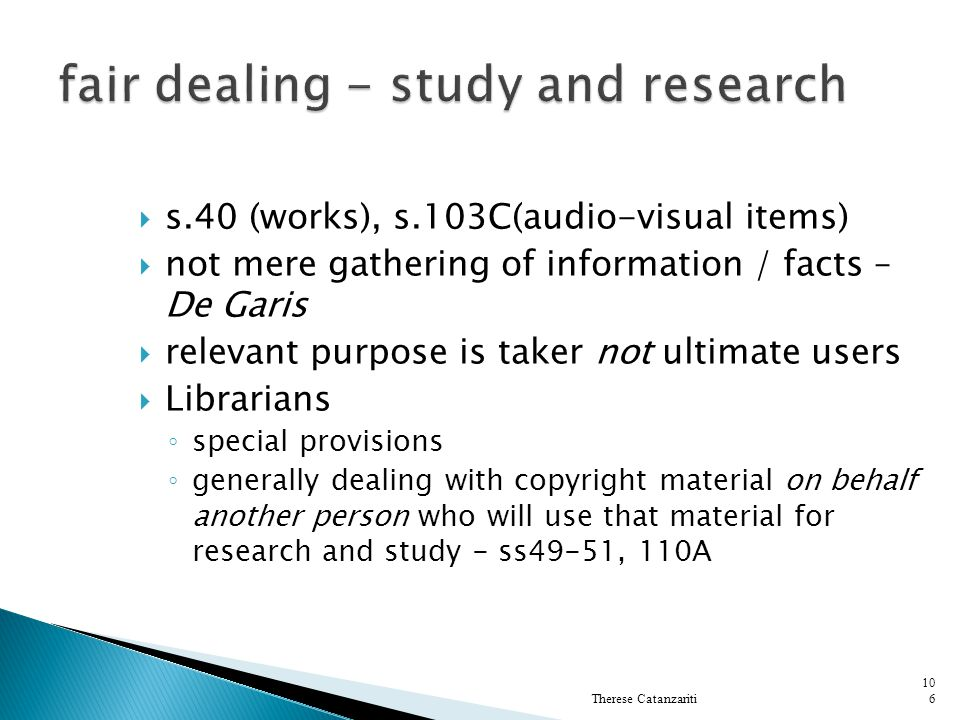 fair dealing - study and research