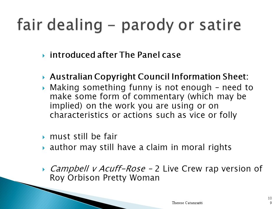 fair dealing - parody or satire