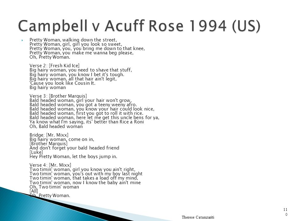Campbell v Acuff Rose 1994 (US)