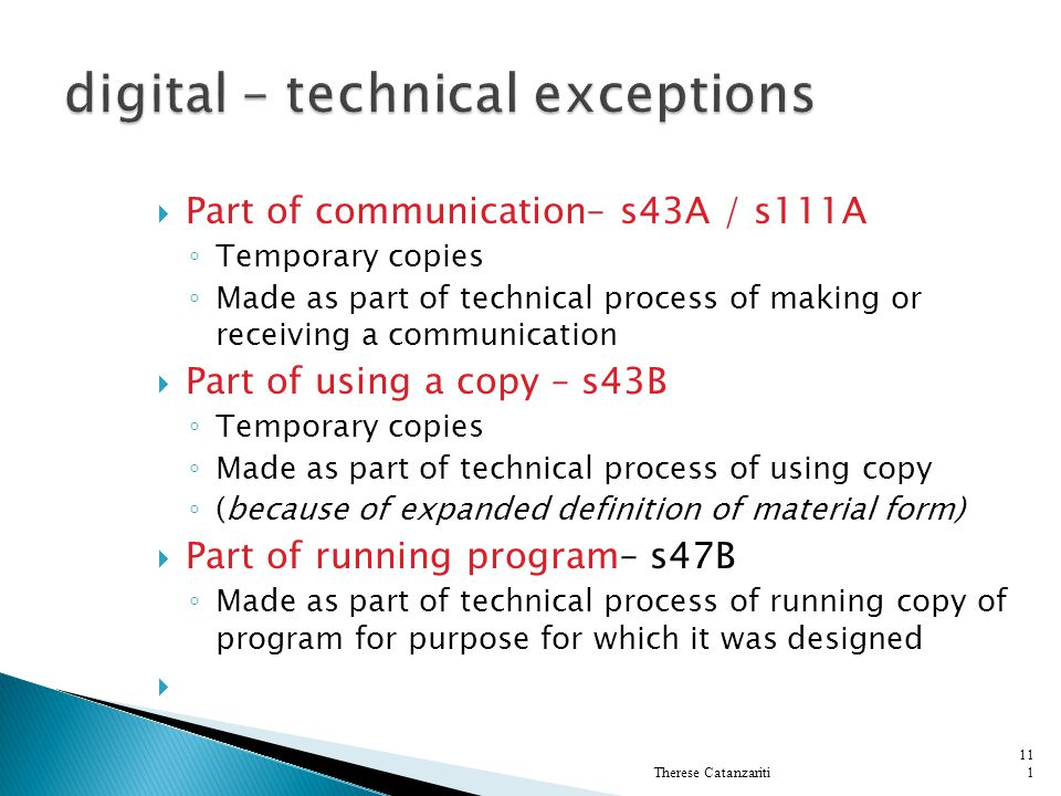 digital – technical exceptions