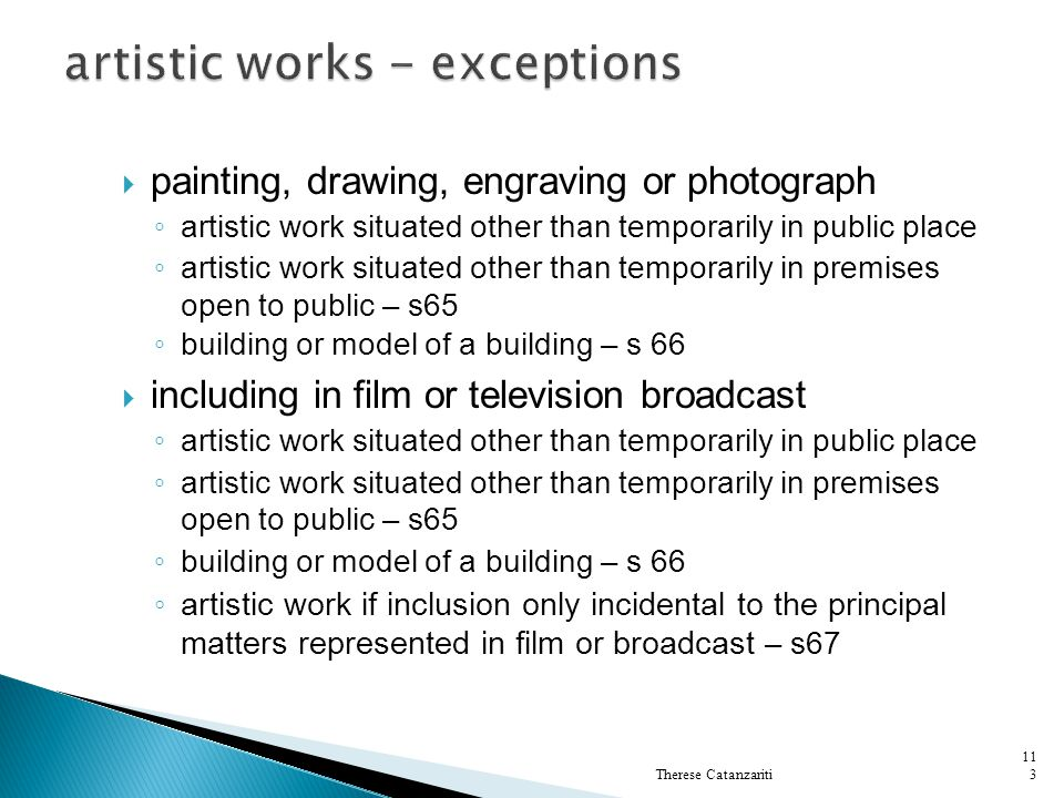 artistic works - exceptions