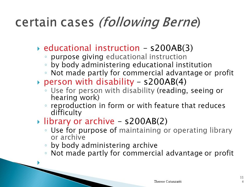 certain cases (following Berne)