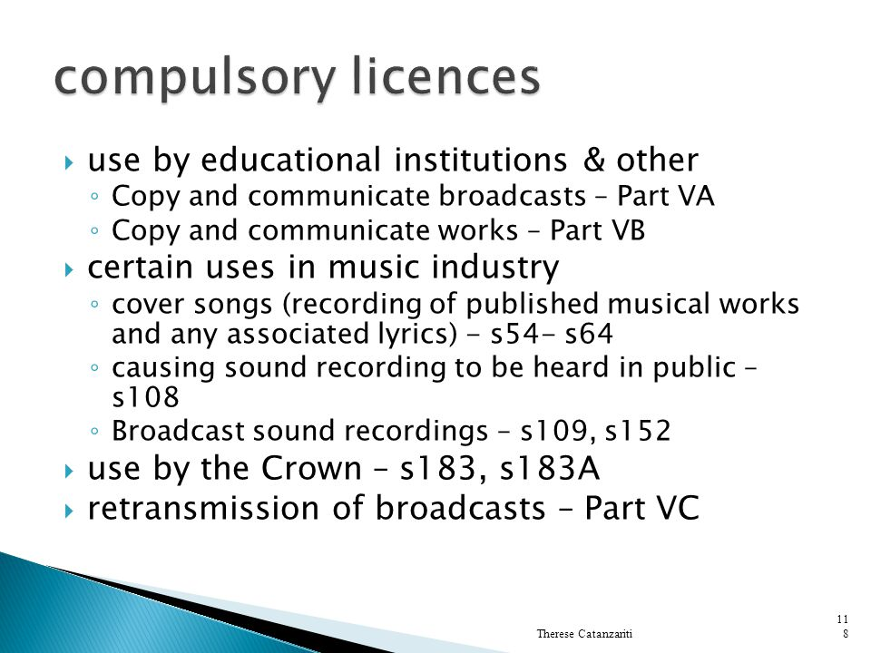 compulsory licences use by educational institutions & other