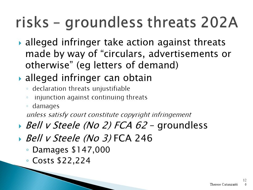 risks – groundless threats 202A