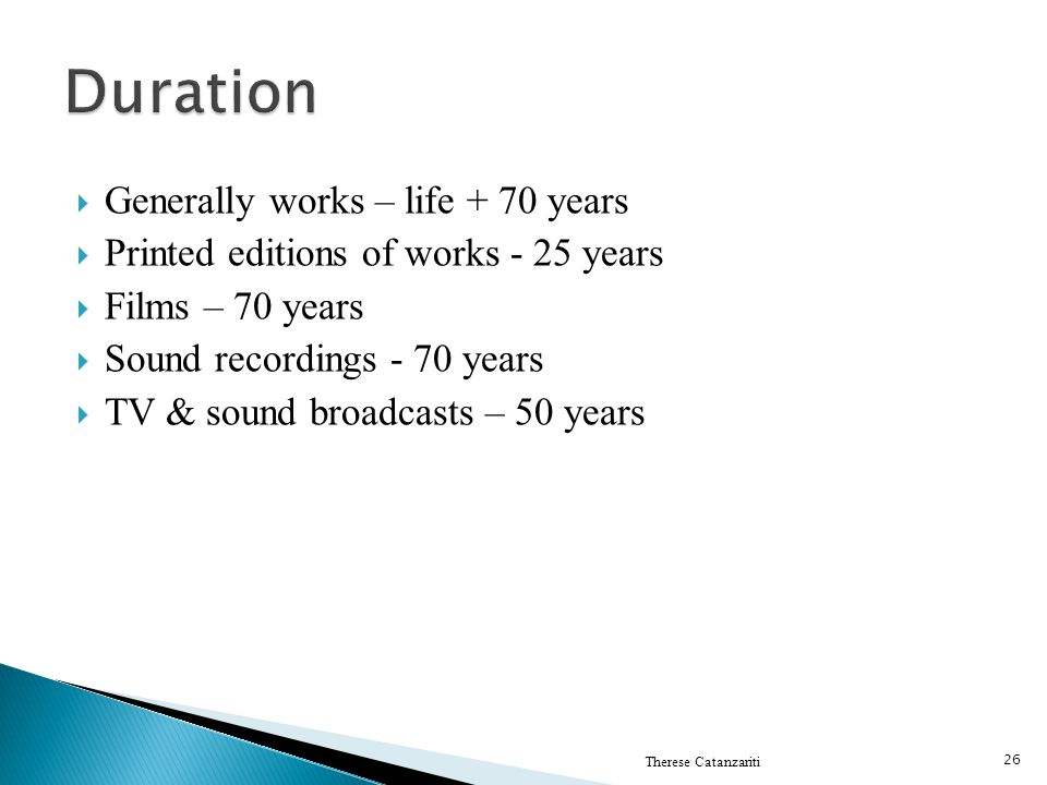 Duration Generally works – life + 70 years