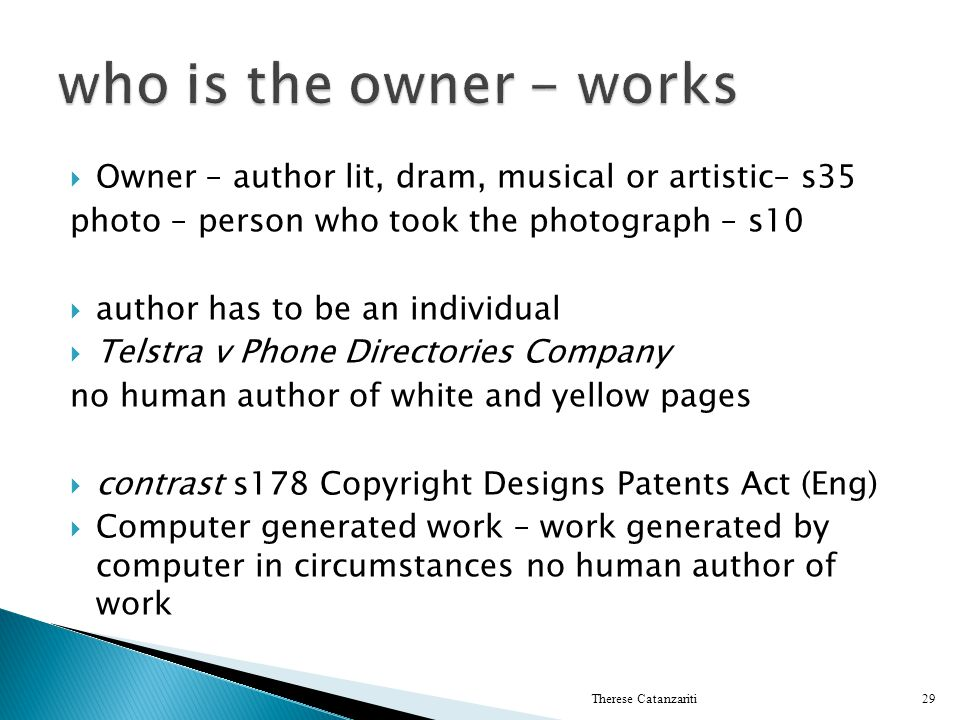 who is the owner - works Owner – author lit, dram, musical or artistic– s35. photo – person who took the photograph – s10.