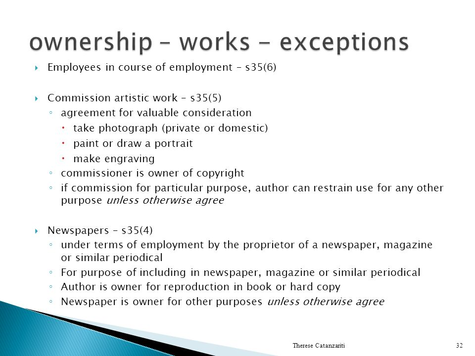 ownership – works - exceptions