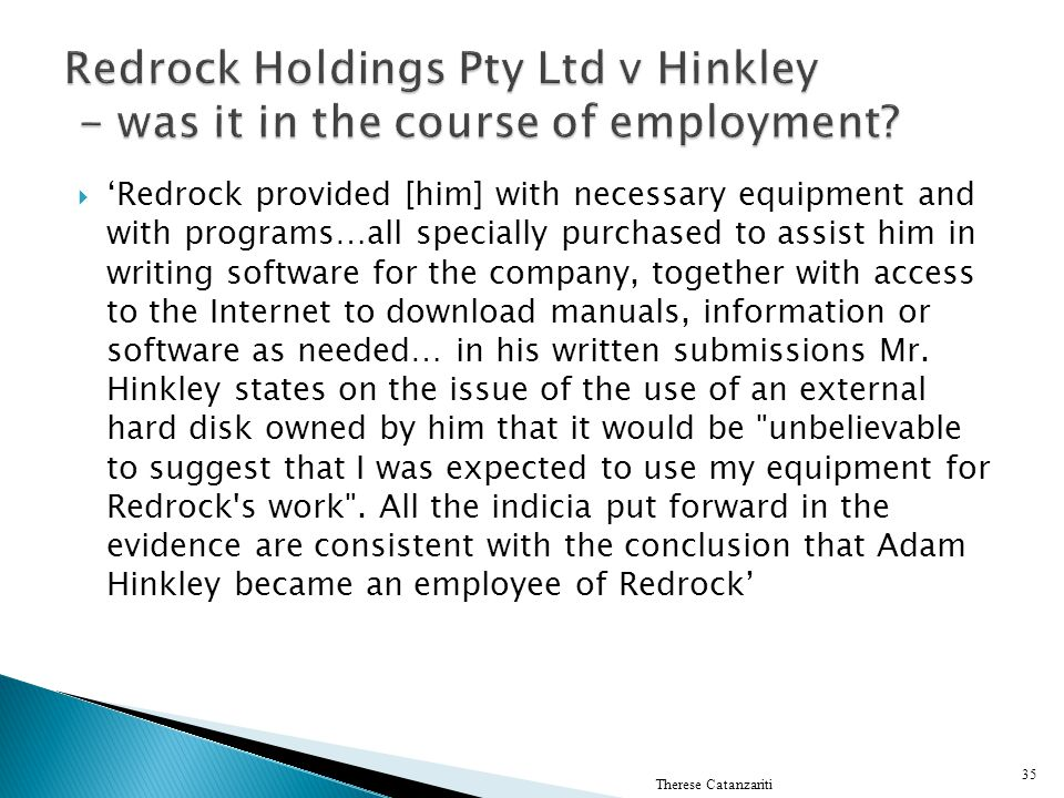 Redrock Holdings Pty Ltd v Hinkley - was it in the course of employment
