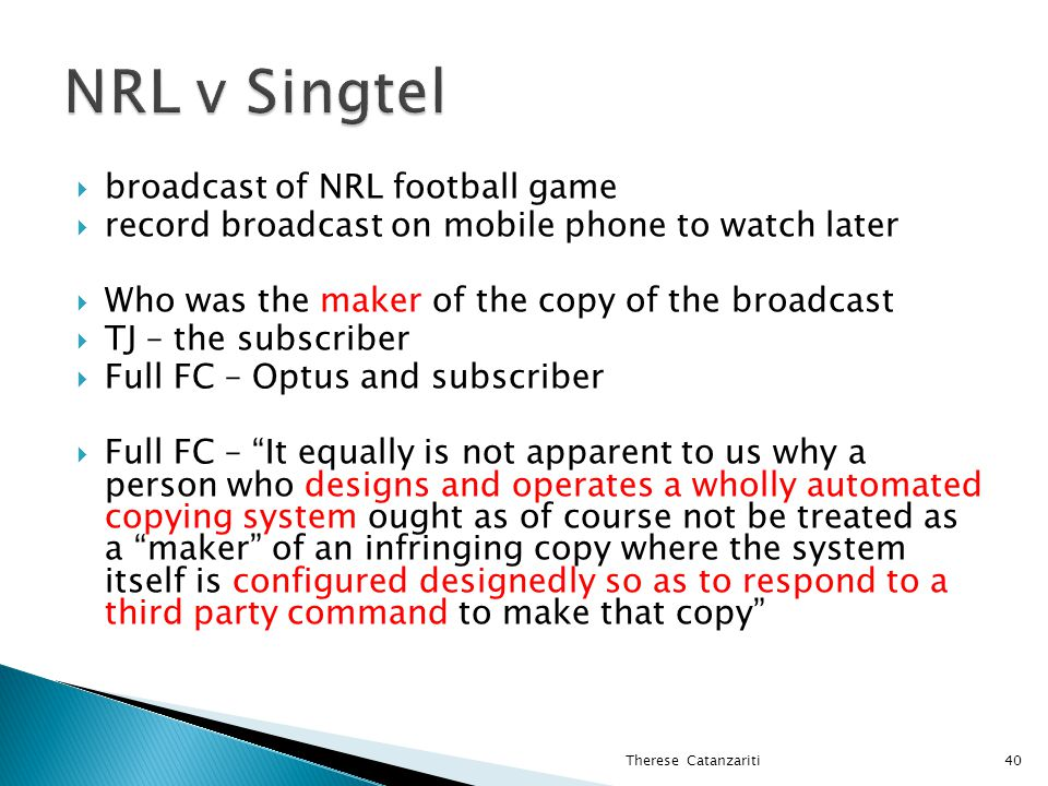 NRL v Singtel broadcast of NRL football game