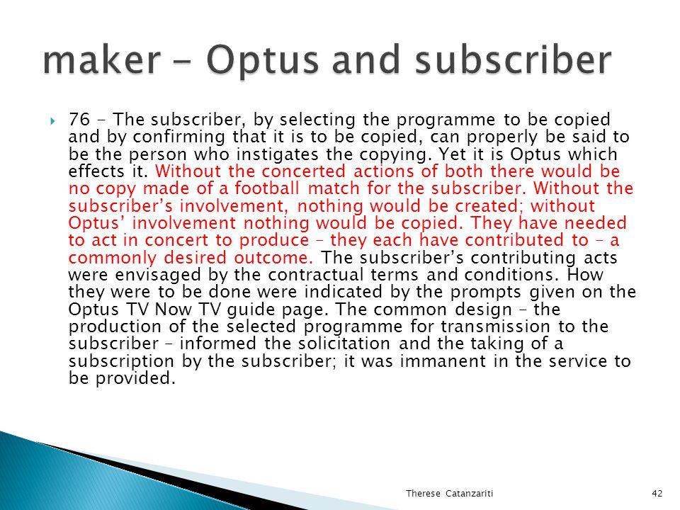 maker - Optus and subscriber