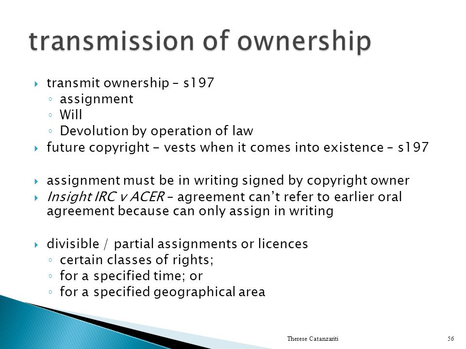 transmission of ownership