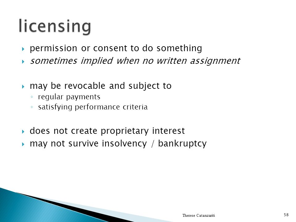 licensing permission or consent to do something