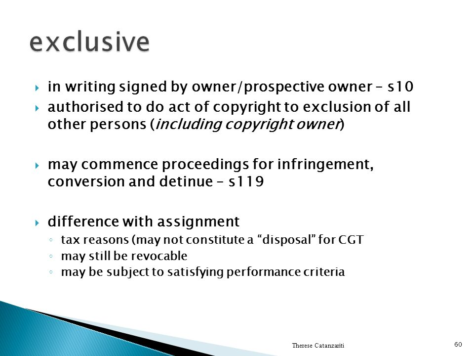 exclusive in writing signed by owner/prospective owner – s10