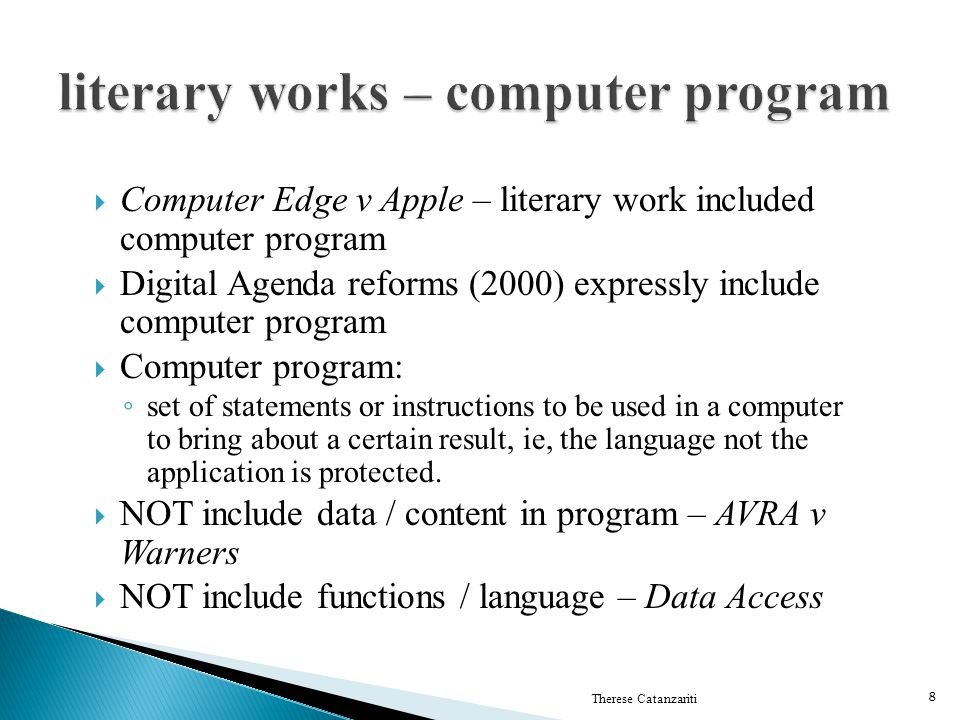 literary works – computer program