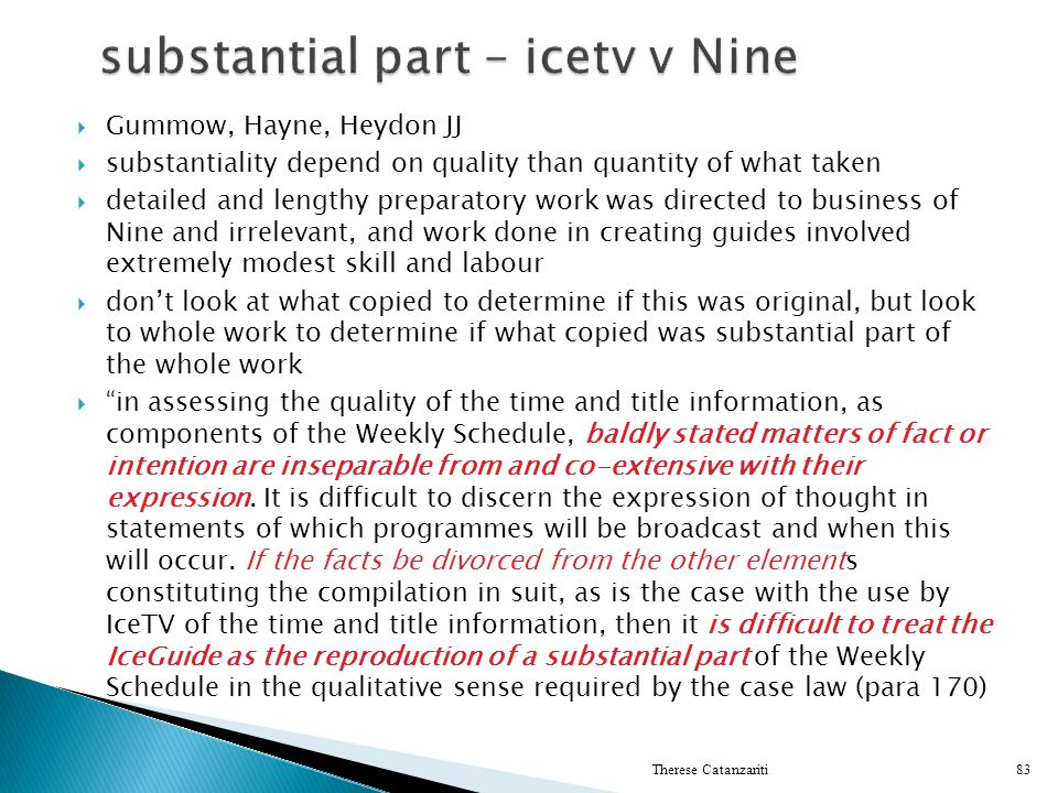 substantial part – icetv v Nine