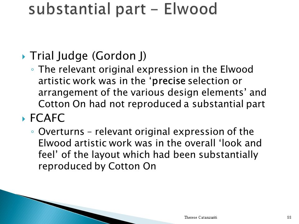 substantial part - Elwood