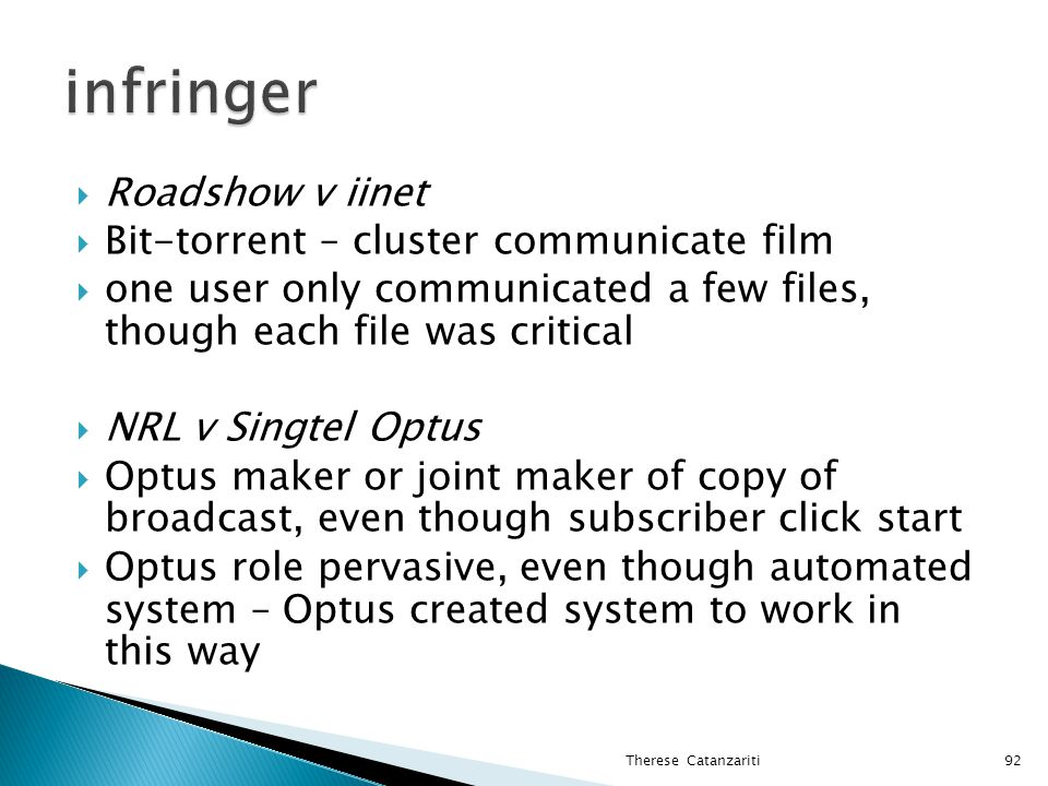 infringer Roadshow v iinet Bit-torrent – cluster communicate film